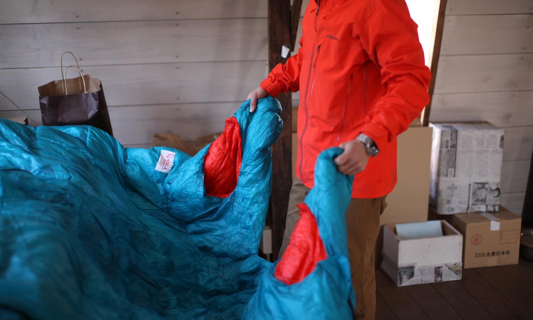 always needs with himself on the Himalaya is a Nanga sleeping bag